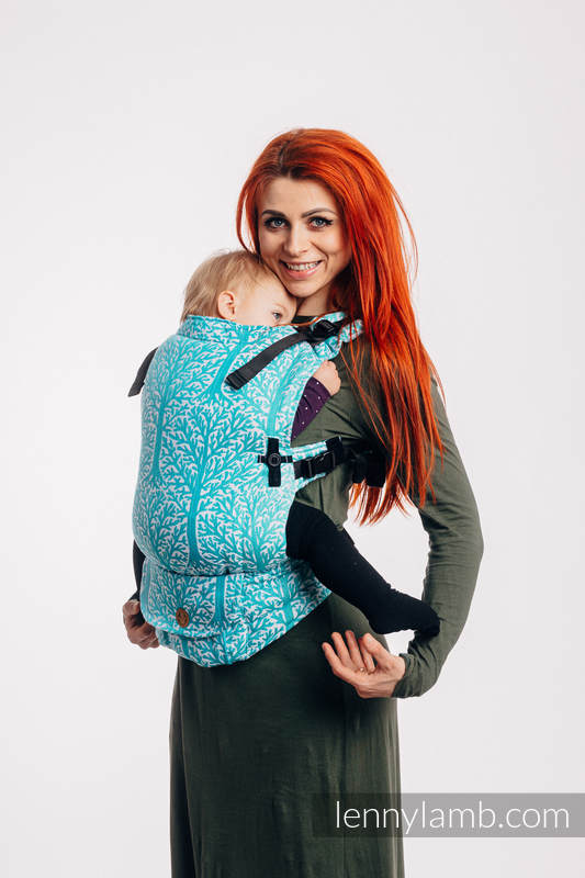 LennyUpGrade Carrier, Standard Size, jacquard weave 96% cotton, 4% metallised yarn - WOODLAND - FROST #babywearing