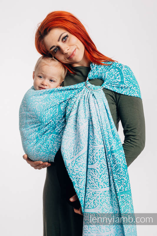 Ringsling, Jacquard Weave (96% cotton, 4% metallised yarn) - with gathered shoulder - WOODLAND - FROST - long 2.1m #babywearing
