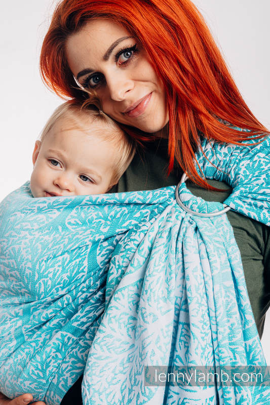 Ringsling, Jacquard Weave (96% cotton, 4% metallised yarn) - with gathered shoulder - WOODLAND - FROST - standard 1.8m #babywearing