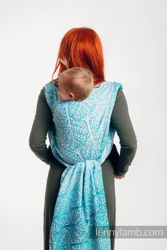 Żakardowa chusta do noszenia dzieci, 96% bawełna, 4% przędza metalizowana - LEŚNA KRAINA - SZRON - rozmiar L #babywearing