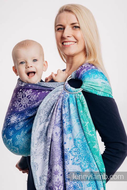 Żakardowa chusta kółkowa do noszenia dzieci, 100% bawełna - KRÓLOWA ŚNIEGU - KRYSZTAŁ - standard 1.8m #babywearing