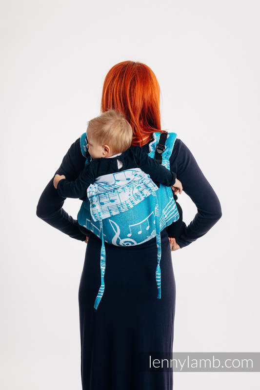 Lenny Buckle Onbuhimo baby carrier, Toddler size, jacquard weave (51% cotton, 30% merino wool, 10% silk, 5% cashmere, 4% metallised yarn) - SYMPHONY - ICY #babywearing