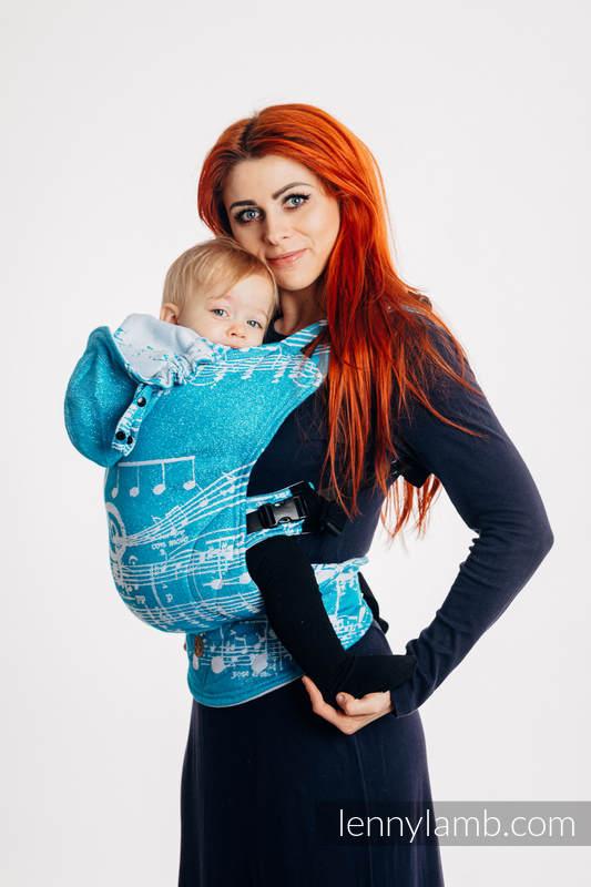 LennyGo Mochila ergonómica, talla toddler, jacquard (51% Algodón, 30% Lana Merino, 10% Seda, 5% Cachemira, 4% Metalizado) - SYMPHONY - ICY #babywearing