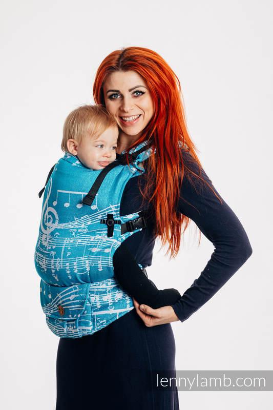 LennyUpGrade Tragehilfe, Größe Standard, Jacquardwebung, (51% Baumwolle, 30% Merinowolle, 10% Seide, 5% Kaschmir, 4% Metallisiertes Garn) - SYMPHONY - ICY #babywearing