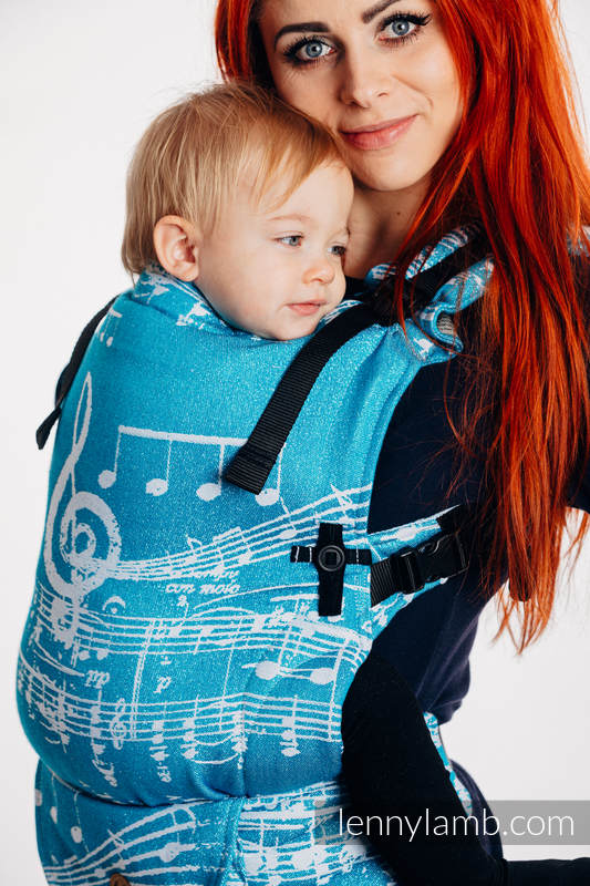 LennyUpGrade Carrier, Standard Size, jacquard weave (51% cotton, 30% merino wool, 10% silk, 5% cashmere, 4% metallised yarn) - SYMPHONY - ICY #babywearing