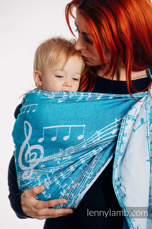 Ringsling, Jacquard Weave, with gathered shoulder (51% cotton, 30% merino wool, 10% silk, 5% cashmere, 4% metallised yarn) - SYMPHONY - ICY - standard 1.8m #babywearing