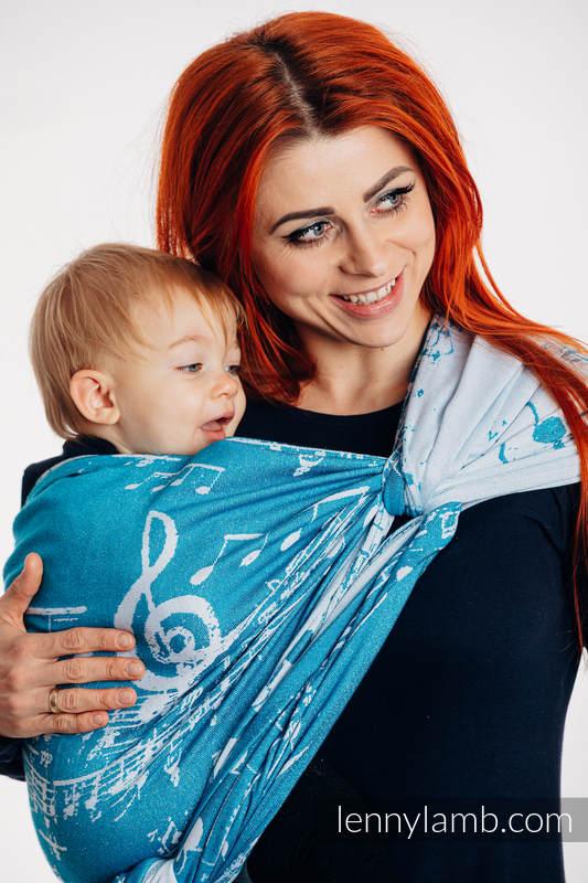 Baby Wrap, Jacquard Weave (51% cotton, 30% merino wool, 10% silk, 5% cashmere, 4% metallised yarn) - SYMPHONY - ICY - size XS #babywearing
