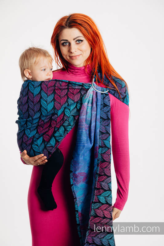 Ringsling, Jacquard Weave (100% cotton), with gathered shoulder - TANGLED IN LOVE - standard 1.8m #babywearing