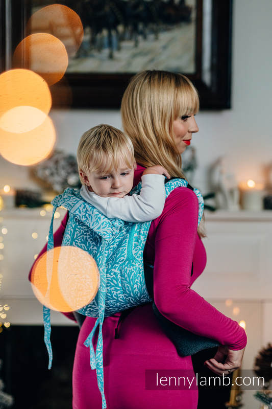 Lenny Buckle Onbuhimo baby carrier, standard size, jacquard weave (96% cotton, 4% metallised yarn) - WOODLAND - FROST #babywearing