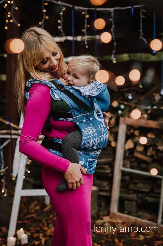 LennyGo Ergonomic Carrier, Baby Size, jacquard weave (51% cotton, 30% merino wool, 10% silk, 5% cashmere, 4% metallised yarn) - SYMPHONY - ICY #babywearing