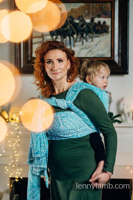 Baby Wrap, Jacquard Weave (96% cotton, 4% metallised yarn) - WOODLAND - FROST - size M #babywearing