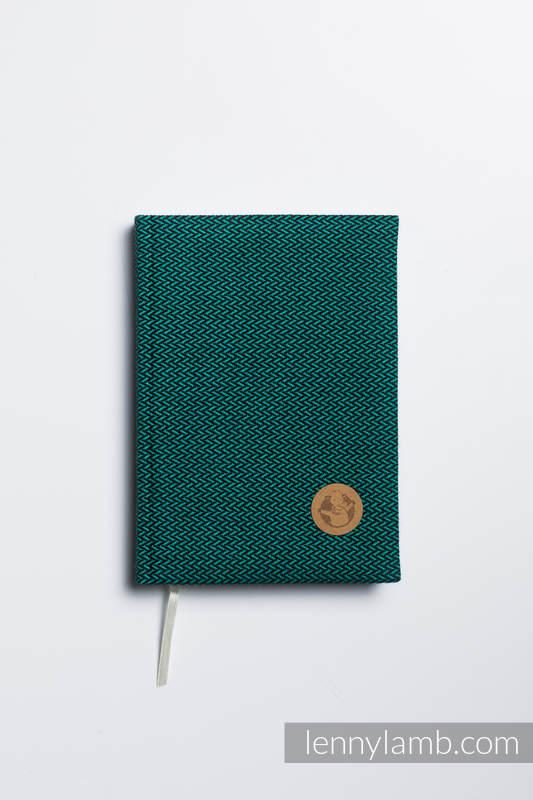 Kalendarz na rok 2020 z okładką z tkaniny chustowej - rozmiar A5 - SZMARAGD #babywearing