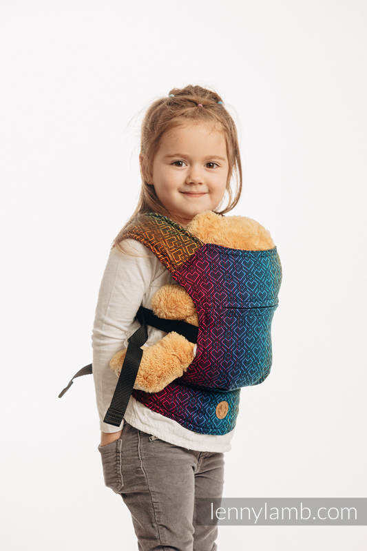 Doll Carrier made of woven fabric (100% cotton) - BIG LOVE RAINBOW DARK #babywearing