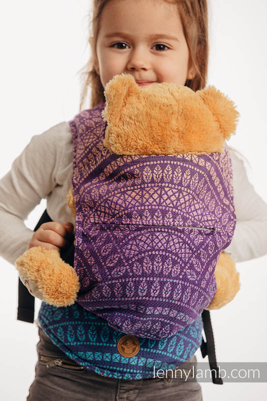 Doll Carrier made of woven fabric, 100% cotton - PEACOCK'S TAIL - CLOSER TO THE SUN #babywearing
