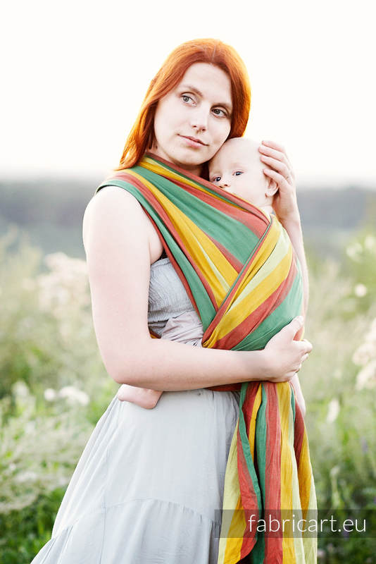 Baby Sling, Broken Twill Weave (100% cotton) - INDIAN SUMMER - size XS #babywearing