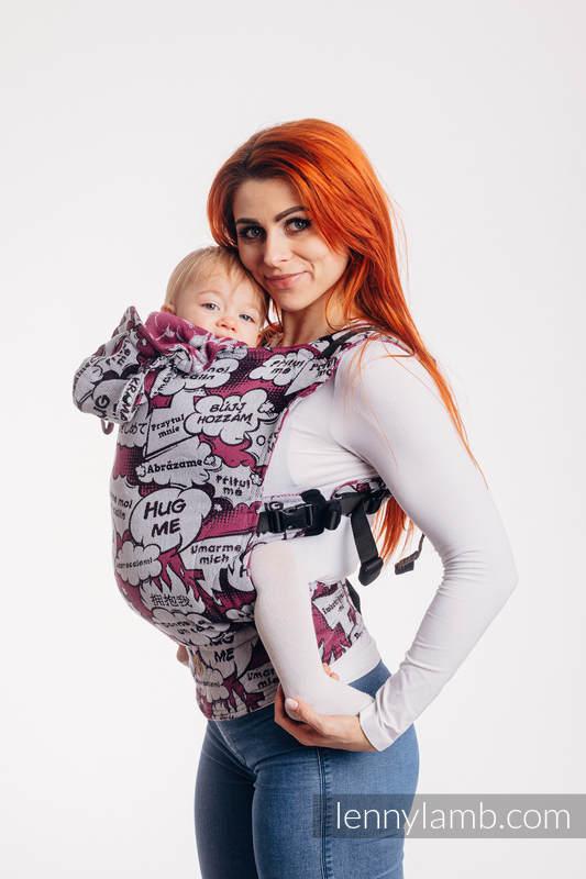 Nosidełko Ergonomiczne LennyGo z tkaniny żakardowej 100% bawełna , rozmiar Baby - PRZYTUL MNIE - RÓŻOWY #babywearing