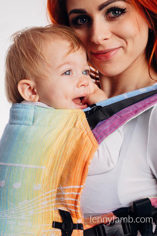 Nosidełko LennyUpGrade z tkaniny żakardowej 100% bawełna , rozmiar standard, SYMFONIA TĘCZOWA LIGHT #babywearing