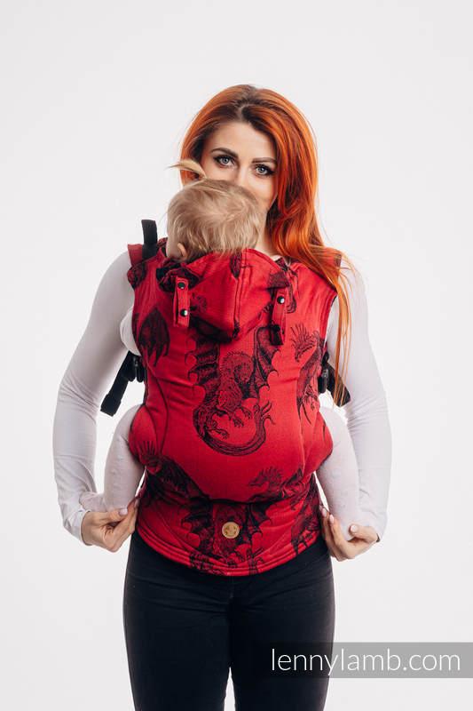 Nosidełko Ergonomiczne LennyGo z tkaniny żakardowej 100% bawełna , rozmiar Baby - DRAGON - OGIEŃ I KREW #babywearing