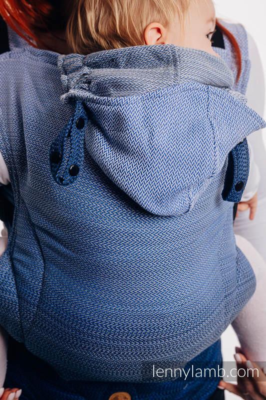 LennyGo Mochila Ergonómica, Talla Baby, tejido de espiga  100% algodón - LITTLE HERRINGBONE OMBRE BLUE #babywearing