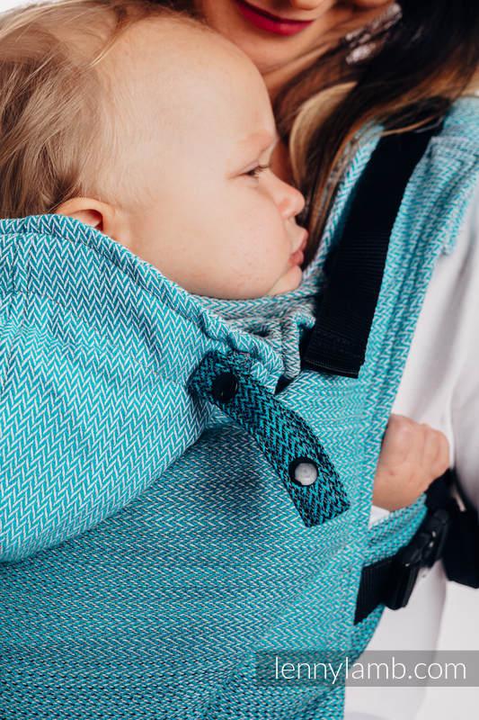 LennyGo Ergonomische Tragehilfe, Größe Toddler, Fischgrätmuster, 100% Baumwolle - LITTLE HERRINGBONE OMBRE TEAL #babywearing