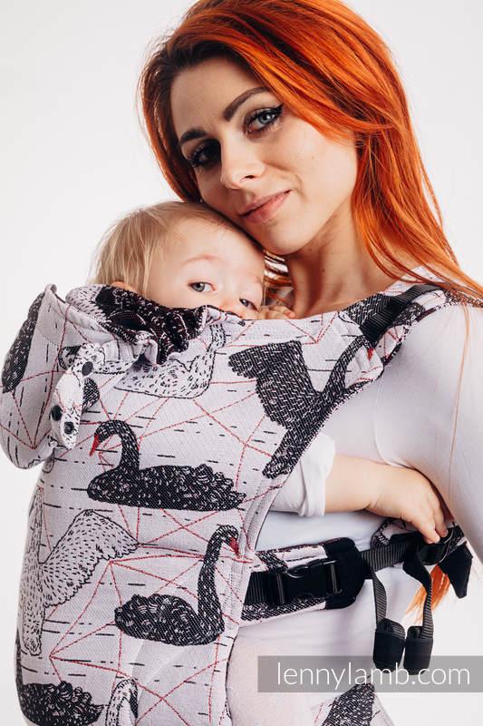 LennyGo Ergonomic Carrier, Baby Size, jacquard weave 100% cotton - WILD SWANS #babywearing