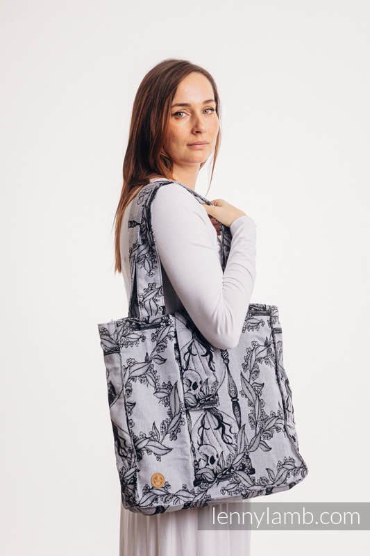 Shoulder bag made of wrap fabric (100% cotton) - TIME (with skull) - standard size 37cmx37cm #babywearing