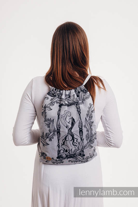 Sackpack made of wrap fabric (100% cotton) - TIME (with skull) - standard size 32cmx43cm #babywearing