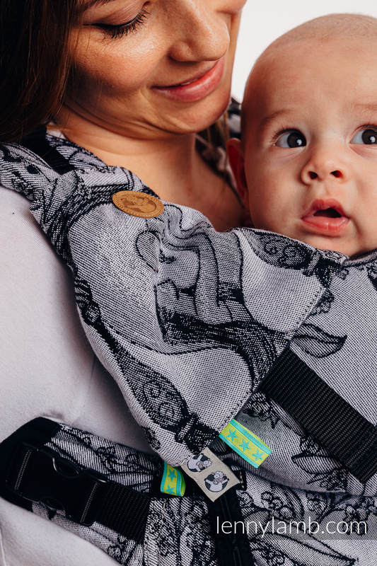 LennyUpGrade Carrier, Standard Size, jacquard weave 100% cotton - TIME (with skull) #babywearing
