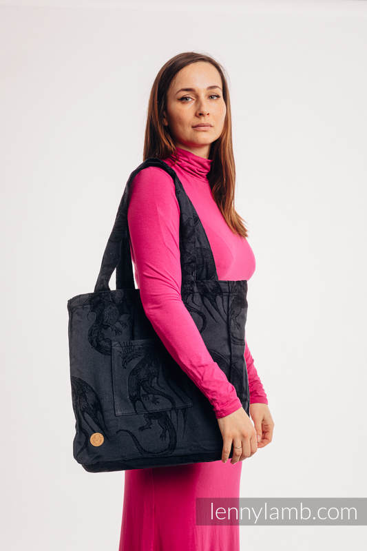 Torba na ramię z materiału chustowego, (100% bawełna) - DRAGON - SMOCZA STRAŻ - uniwersalny rozmiar 37cmx37cm #babywearing