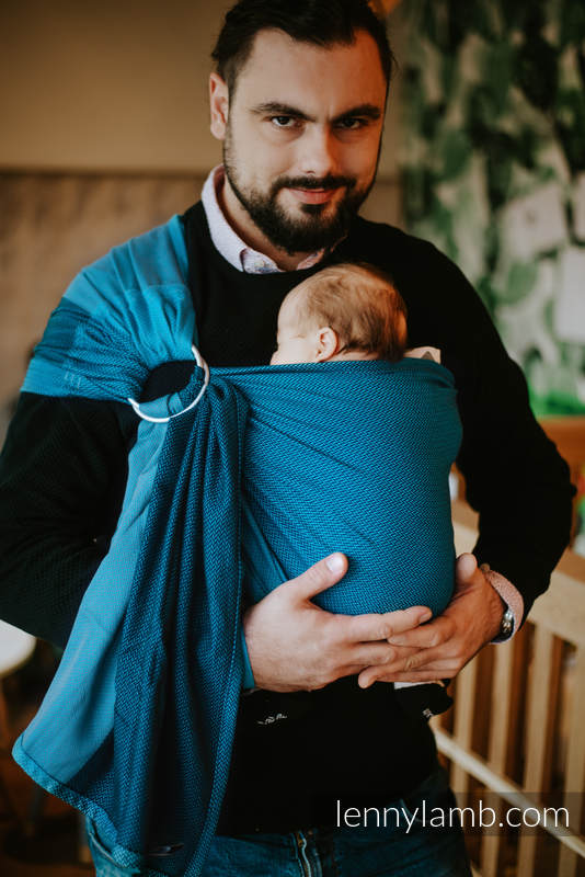 Ringsling, Herringbone Weave (100% cotton) - NOVA - LITTLE HERRINGBONE LEON - long 2.1m #babywearing