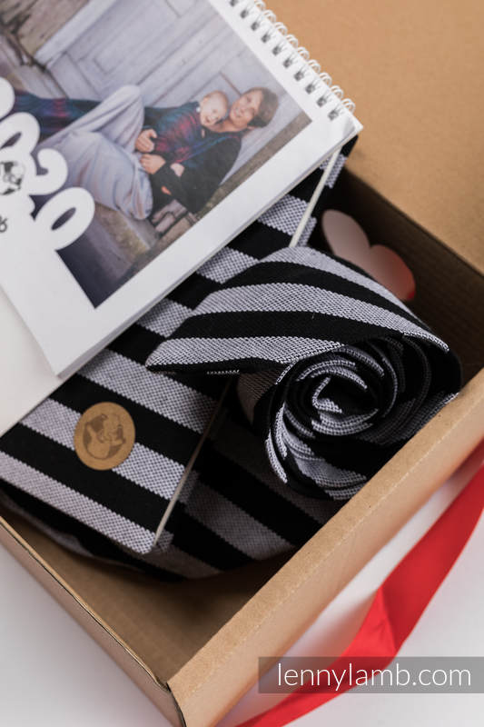 Gift Set for a Grandfather - Light & Shadow (LennyNecktie - 100% cotton, Waist Bag - 100% cotton, A5 calendar, Desk Calendar - English Version) #babywearing
