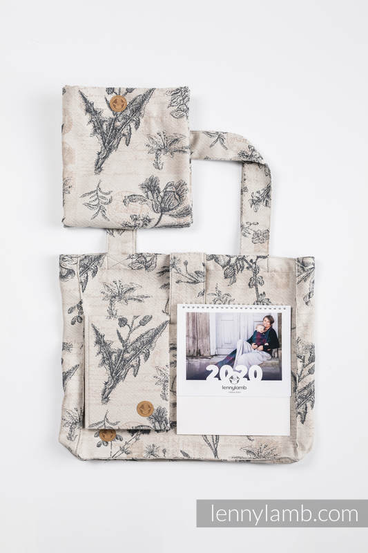 Gift Set for a Grandmother - Herbarium (Shoulder Bag - 100% cotton, Snood Scarf - 100% cotton, A5 calendar, Desk Calendar - English Version) #babywearing