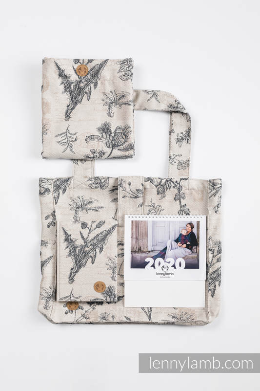 Gift Set for a Grandmother - Herbarium (Shoulder Bag - 100% cotton, Snood Scarf - 100% cotton, A5 calendar, Desk Calendar - Polish Version) #babywearing