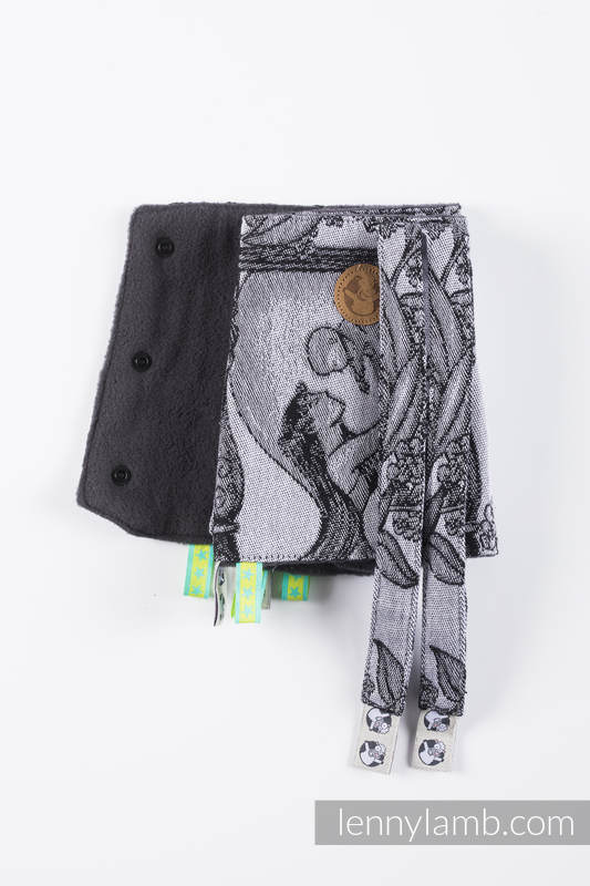 Drool Pads & Reach Straps Set, (60% cotton, 40% polyester) - TIME (with skull)  #babywearing