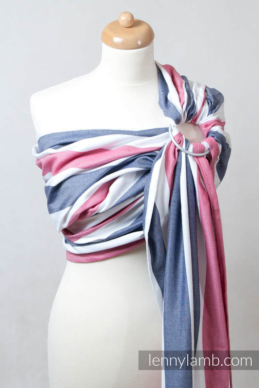 Ring Sling, Broken Twill Weave (bamboo + cotton), with gathered shoulder - Marine - standard 1.8m (grade B) #babywearing