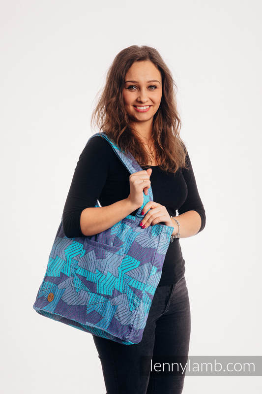 Shoulder bag made of wrap fabric (100% cotton) - PRISM - BLUE RAY - standard size 37cmx37cm #babywearing