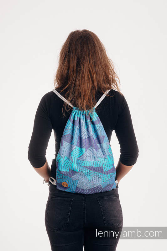 Sackpack made of wrap fabric (100% cotton) - PRISM - BLUE RAY - standard size 32cmx43cm #babywearing