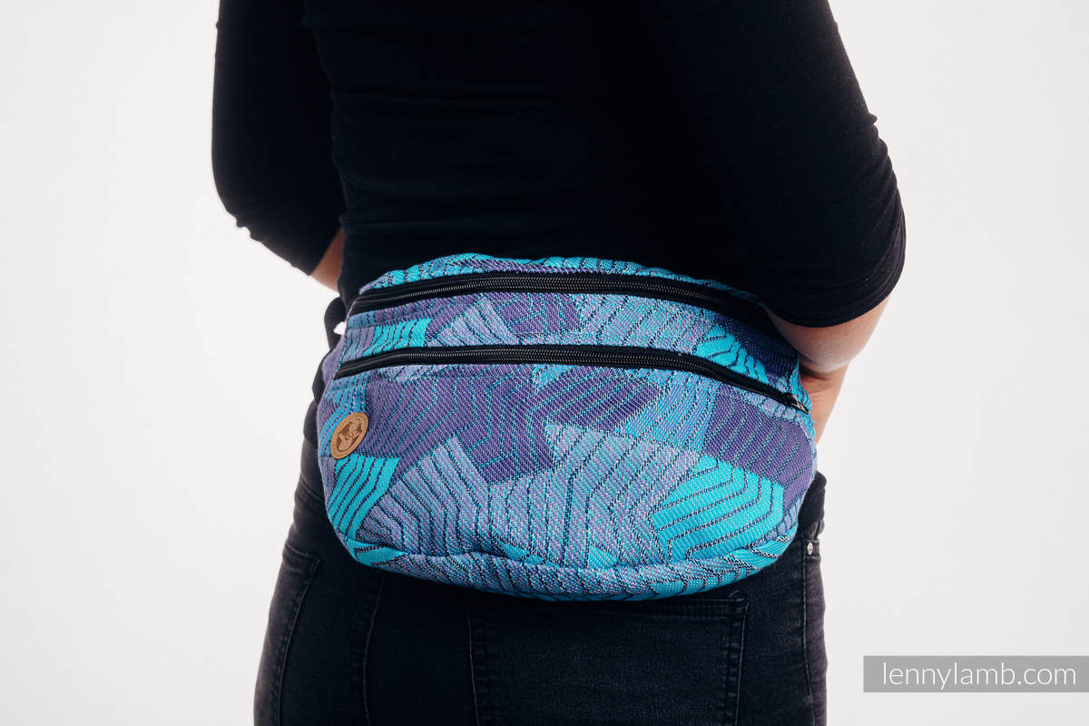 Waist Bag made of woven fabric, size large (100% cotton) - PRISM - BLUE RAY #babywearing
