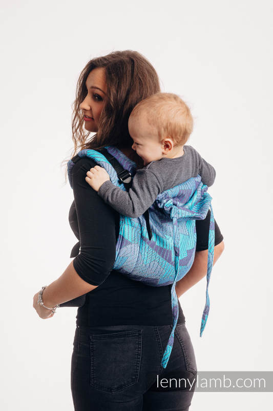 Lenny Buckle Onbuhimo baby carrier, standard size, jacquard weave (100% cotton) - PRISM - BLUE RAY #babywearing