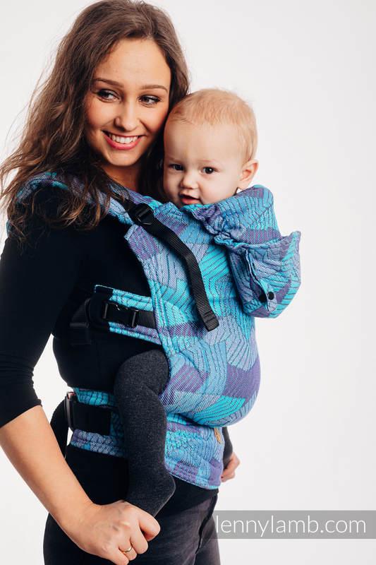 LennyGo Ergonomische Tragehilfe, Größe Toddler, Jacquardwebung, 100% Baumwolle - PRISM - BLUE RAY #babywearing