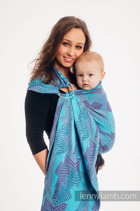 Ringsling, Jacquard Weave (100% cotton), with gathered shoulder - PRISM - BLUE RAY - standard 1.8m #babywearing