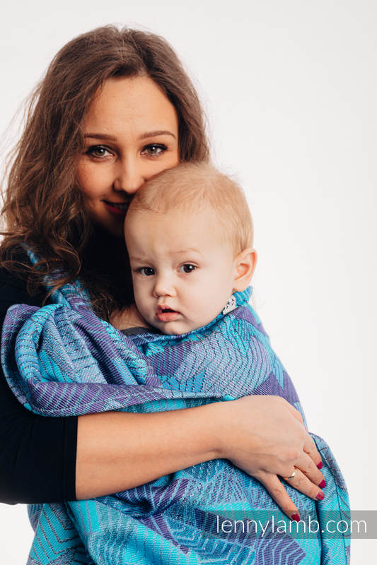 Écharpe, jacquard (100% coton) - PRISM - BLUE RAY  - taille M #babywearing