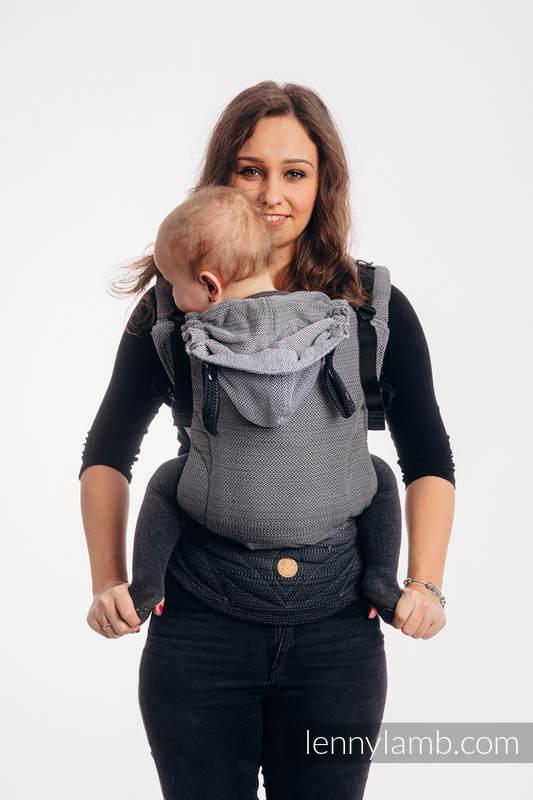 LennyGo Ergonomic Carrier, Baby Size, herringbone weave 100% cotton - LITTLE HERRINGBONE OMBRE GREY #babywearing