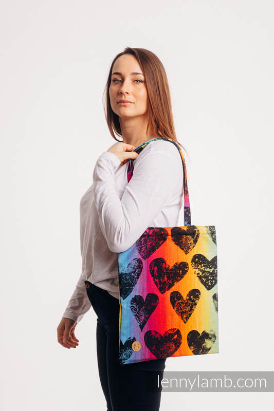 Shopping bag made of wrap fabric (100% cotton) - LOVKA RAINBOW DARK  #babywearing