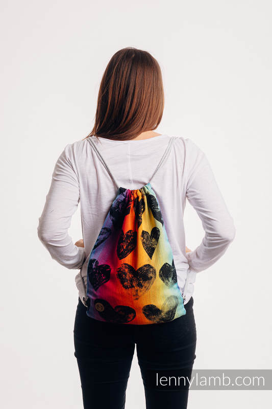 Sackpack made of wrap fabric (100% cotton) - LOVKA RAINBOW DARK - standard size 32cmx43cm #babywearing