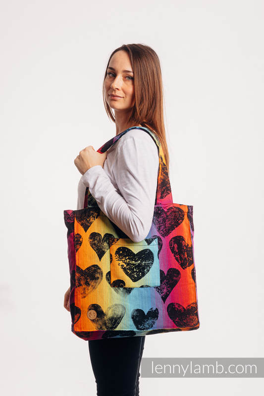 Shoulder bag made of wrap fabric (100% cotton) - LOVKA RAINBOW DARK - standard size 37cmx37cm #babywearing