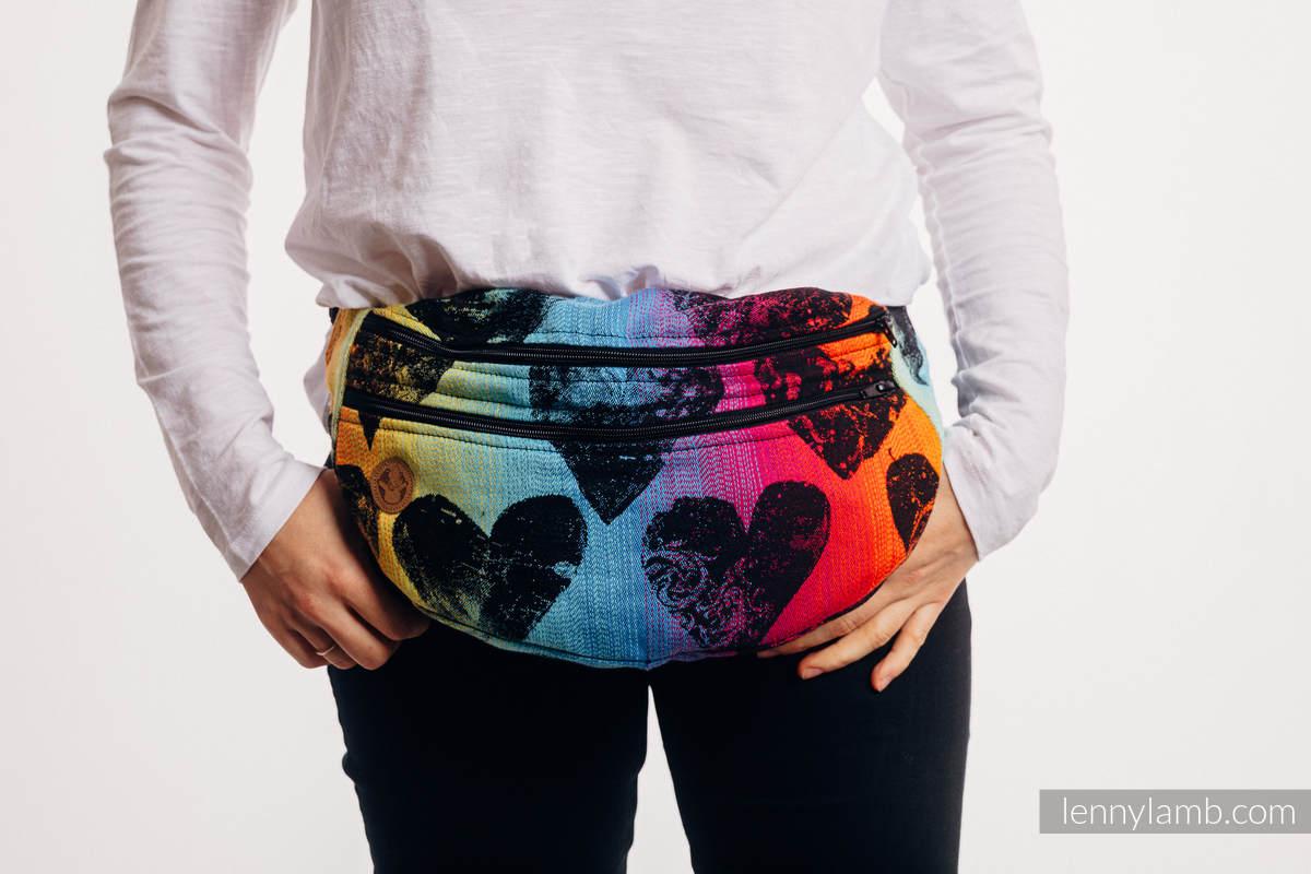 Waist Bag made of woven fabric, size large (100% cotton) - LOVKA RAINBOW DARK  #babywearing