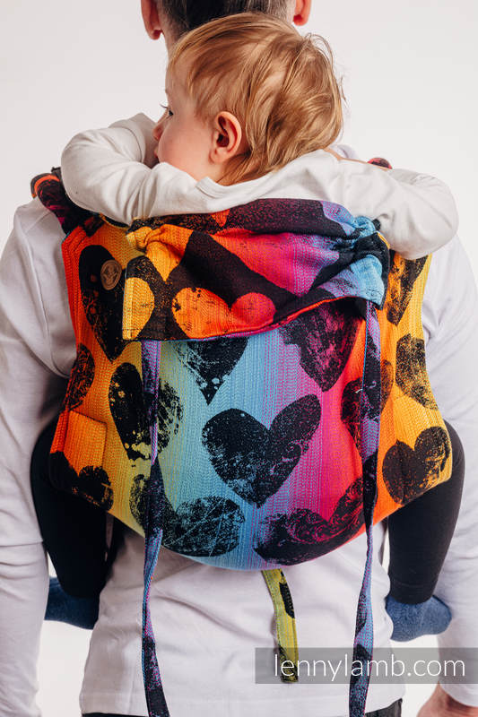 Lenny Buckle Onbuhimo baby carrier, standard size, jacquard weave (100% cotton) - LOVKA RAINBOW DARK  #babywearing