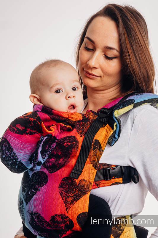 Ergonomische Tragehilfe LennyGo, Größe Baby, Jacquardwebung, 100% Baumwolle - LOVKA RAINBOW DARK  #babywearing