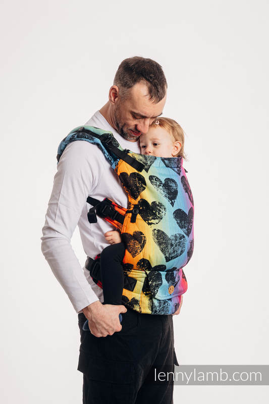 LennyUpGrade Carrier, Standard Size, jacquard weave 100% cotton - LOVKA RAINBOW DARK  #babywearing